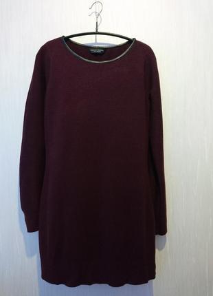 Платье теплое  вязаное марсала
