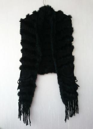 Шуба жилетка меховая вязанная мех кролика