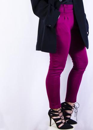 Облегающие бордовые брюки с высокой посадкой, вишневые чиносы parisian collection