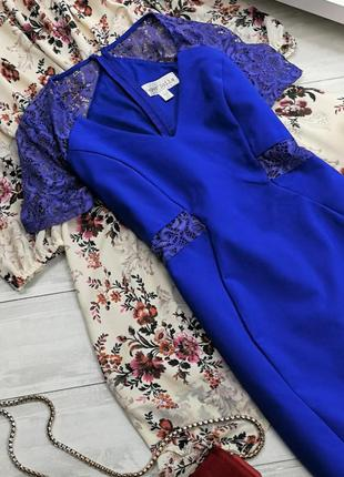 Синее платье-футляр с кружевными вставками 194827 paper dolls размер uk12/40 (m)