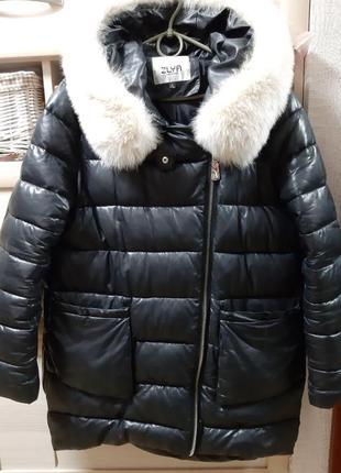 Шикарная зимняя куртка под кожу с натуральным мехом!