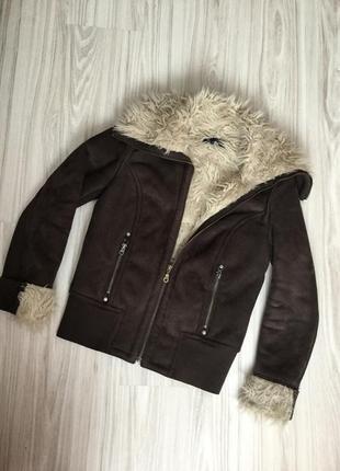 Тепла куртка/дублянка з штучним хутром