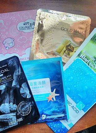 Крутой набор тканевых корейских масок для лица!  премиум акция