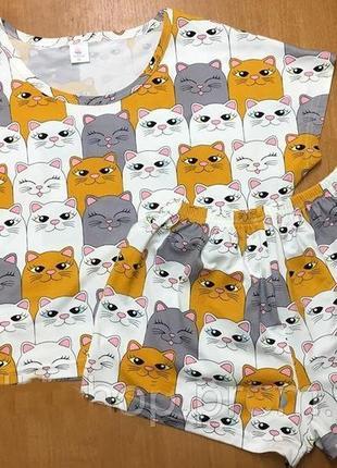 Пижама футболка+топ котики, размер l (46-48)