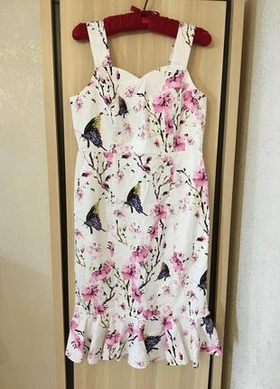 Платье натуральное цветочное бюстье с воланом рюшей
