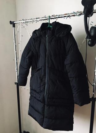 Зимний чёрный пуховик на девочку 12-14 лет