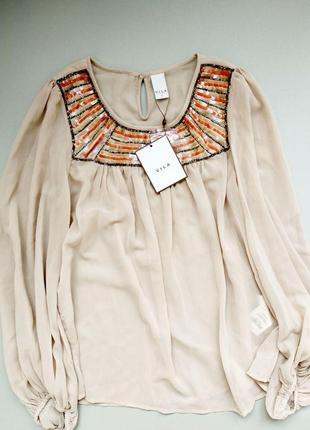 Новая с бирками нарядная блузка шифоновая нарядная топ кофта размер м vila clothes