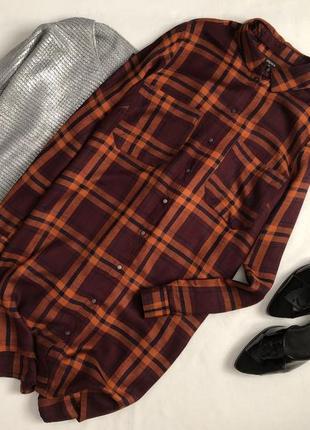 Трендовое платье рубашка в клетку papaya