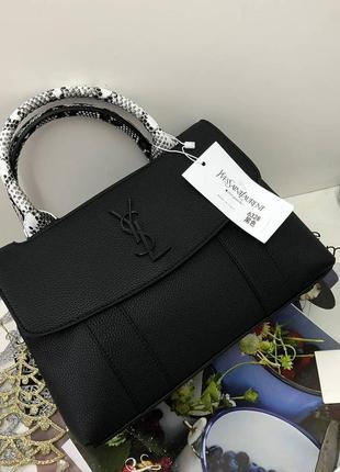 Сумка кожаная деловая стильная шоппер черная женская