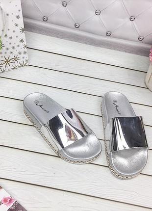 Шлепанцы _ тапки сандали босоножки серебро 37 - 24 см качество