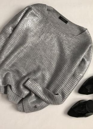 Трендовый голографический свитер с напылением оверсайз