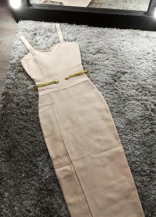 Шикарное сексуальное гусарское платье футляр макси нюд беж herve leger7 фото