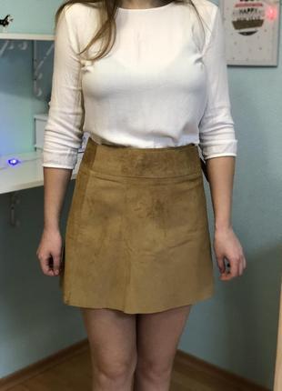Кожаная юбка натуральная кожа бежевая базовая на завязках трендовая