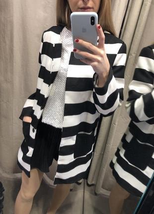 Кардиган- пальто черно-белый2