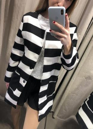 Кардиган- пальто черно-белый3