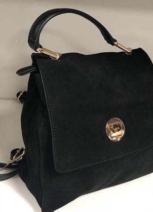 Крутой трансформер, сумка - рюкзак, 2в1, натуральный замш