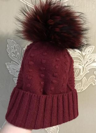 Шерстяная шапка с натуральным мехом
