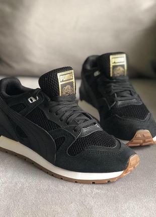 Новые чёрные с золотом кроссовки puma (оригинал), натуральная замша 37,5р