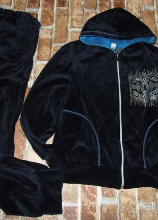 Костюм спортивный  велюровый синий класный 16лет 165см