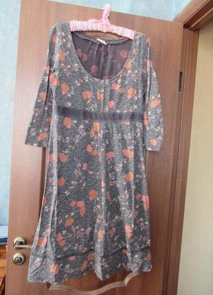 Трикотажное натуральное  платье миди на каждый день от white staff р.14 xl