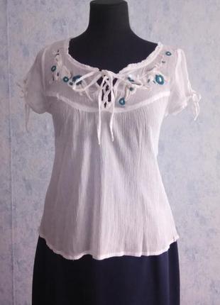 Хлопковая блуза с вышивкой размер uk 12