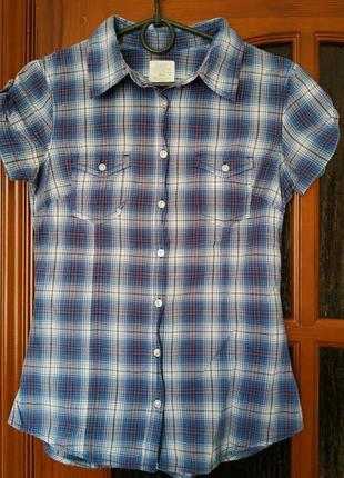 Летняя хлопковая рубашка в клетку синяя h&m xs/34