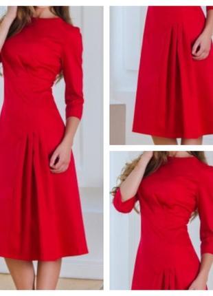 Красное стильное платье классик 44 и 46 размер
