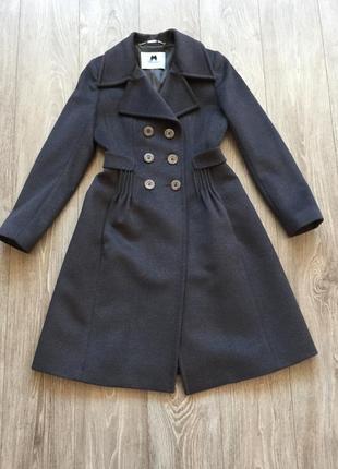 Классическое пальто blumarine, 36-38, серое, шерстяное, двубортное, натуральная шерсть