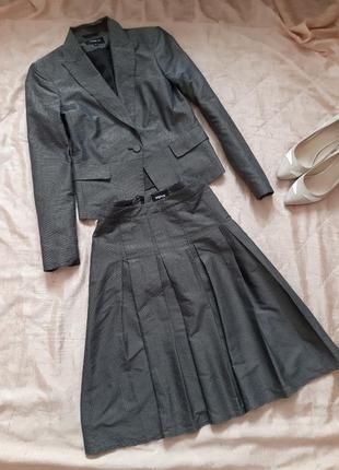 Трендовый костюм в мелкую клетку ,юбка со складками от yorn