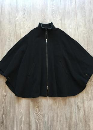 Пальто чёрное шерстяное isabell, 38, натуральная шерсть, ретро, кейп, для беременных