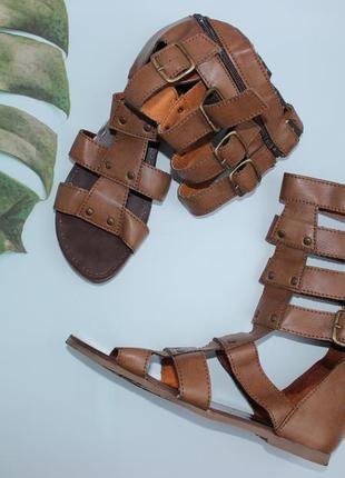 40 25,7см  roots стильные кожаные римские сандалии, гладиаторы