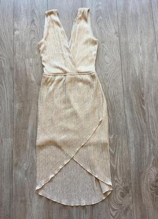Платье вечернее облегающее, обтягивающее, в обтяжку, трикотажное, стретч, 34-36, золотое