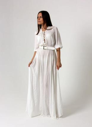 Платье макси белое длинное elisabetta franchi оригинал летнее лето летнее под пояс вискоза