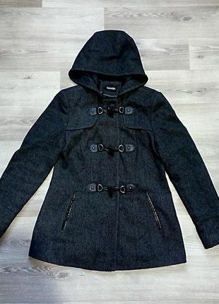 Идеальное,стильное пальто от george, меланж,серо- чёрное.3