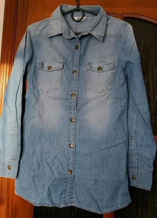 Джинсовая рубашка туника tammy xs/s