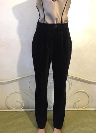 Бархатные, велюровые, чёрные с высокой талией брюки gerry weber
