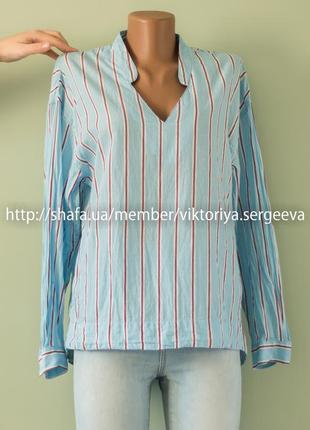 Большой выбор блуз - легкая рубашка в вертикальную полоску нежно-голубого цвета хлопок