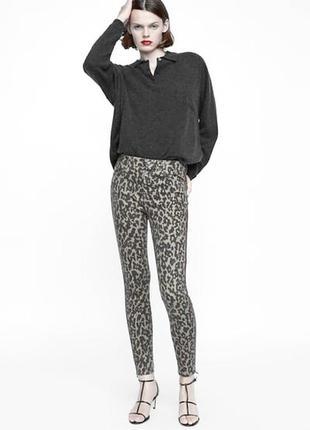 Стильные леопардовые джинсы стрейч узкочи скинни