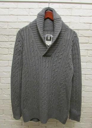 Шерстяной свитер g star knit sweater shawl collar oxford cable