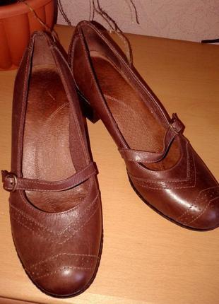 Комфортные туфельки clarks натуральная кожа, 25,5 см
