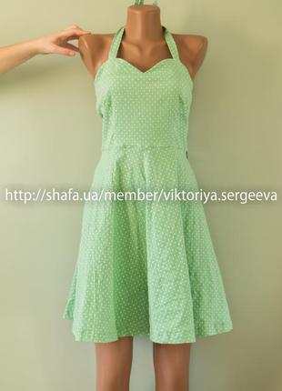Большой выбор платьев - красивое летнее платье с пышной юбкой в горох хлопок