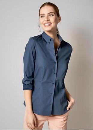 Стильная приталенная синяя блузка-рубашка от немецкого бренда esmara.42
