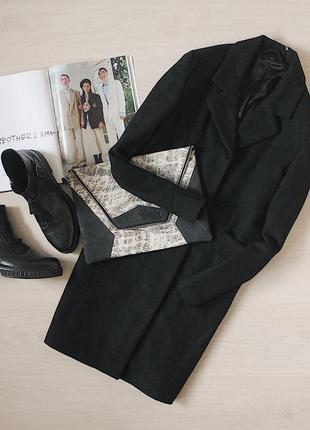 60% wool/ шерсти. шикарное шерстяное черное пальто с карманами