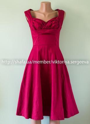 Большой выбор платьев - красивое бордовое платье миди юбка клеш хлопок