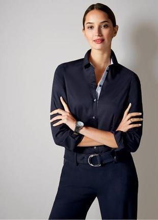 Стильная приталенная синяя блузка-рубашка от немецкого бренда esmara,38р