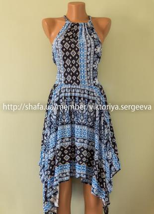 Большой выбор платьев - актуальное платье миди с асимметричным низом вискоза