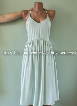 Большой выбор платьев - красивое платье миди мятного цвета на завязках вискоза