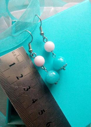 Нежные серьги сережки ручной работы из натуральных камней висюльки подвески3