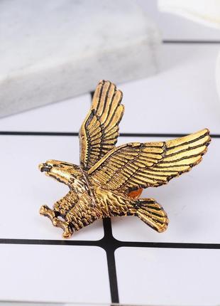 Мужская брошь на одежду летящий орел, значок на одежду птица золото