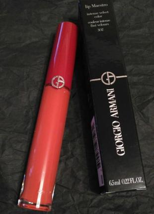 Жидкая помада для губ giorgio armani lip maestro liquid lipstick №302 orange